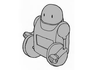 ロボットの手描きの漫画